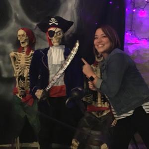 Jessica-Scanlon-Hot-Dog-Marketing-Round-Rock-Chamber-Spark-Event-Pirates